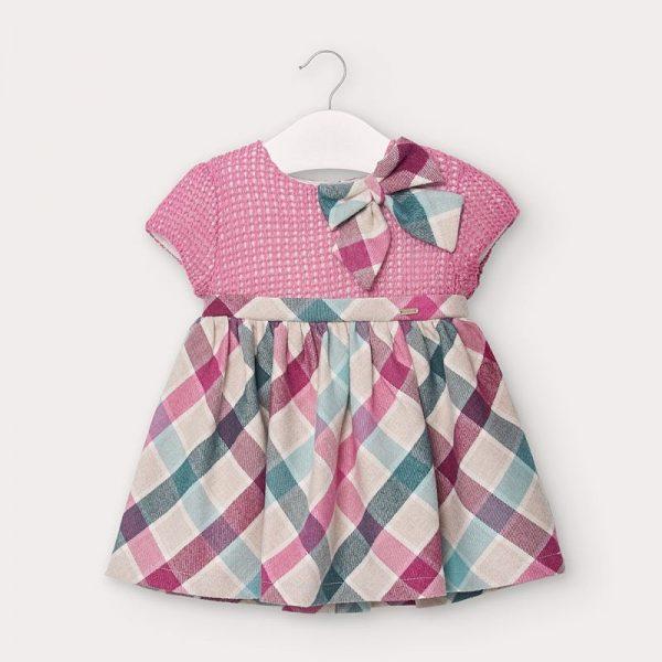 Kárované kombinované šaty s krátkym rukávom newborn Mayoral ružové | Welcomebaby.sk