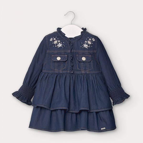 Dievčenské rifľové šaty s volánovou sukňou Mayoral tmavomodré | Welcomebaby.sk