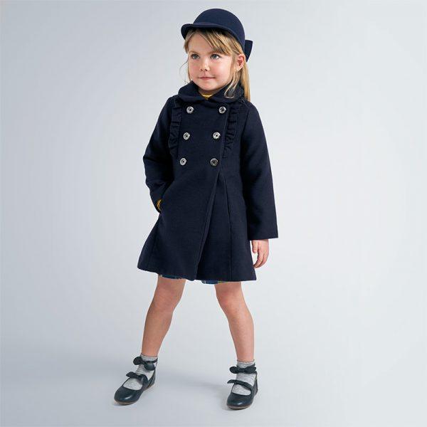 Dievčenský elegantný kabát vpredu s volánmi Mayoral tmavomodrý | Welcomebaby.sk