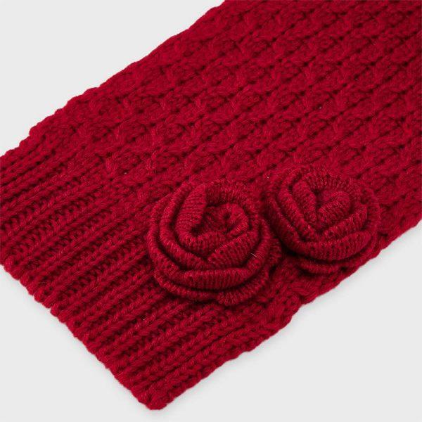Dievčenská čiapka a šál s kvetom 3set Mayoral červený | Welcomebaby.sk