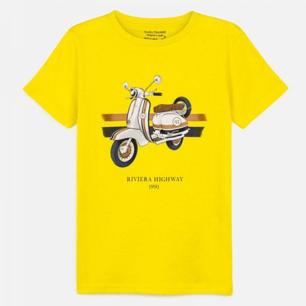 Chlapčenské tričko s motorkou Riviera highway Mayoral žlté | Welcomebaby.sk