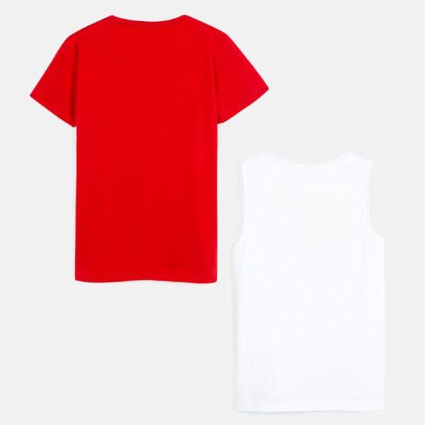 Chlapčenské tričko 2 set s krátkym rukávom a motívom lodiek Mayoral biele a červené | Welcomebaby.sk