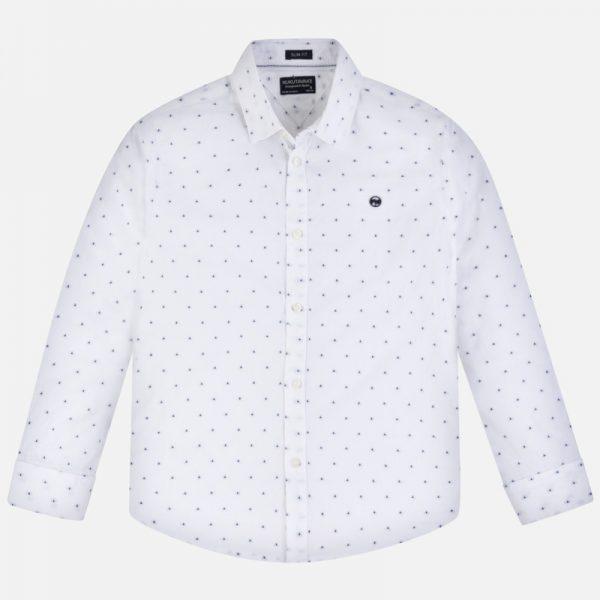 Chlapčenská košeľa s dlhým rukávom a jemnými bodkami Mayoral biela | Welcomebaby.sk
