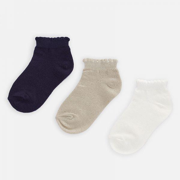 Dievčenské krátke ponožky 3set Mayoral biele | Welcomebaby.sk