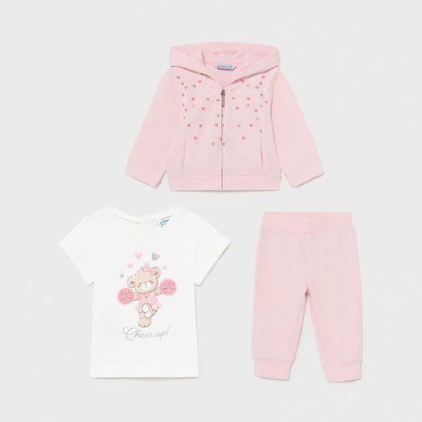 Tepláky, tričko a mikina - 3 set Mayoral newborn ružový | Welcomebaby.sk