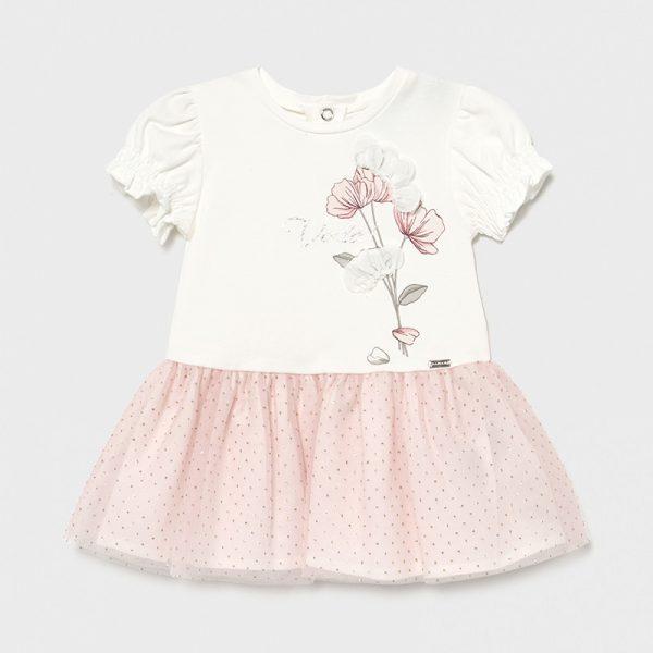 Šaty s 3D kvetom a tylovou sukňou Mayoral newborn ružové   Welcomebaby.sk