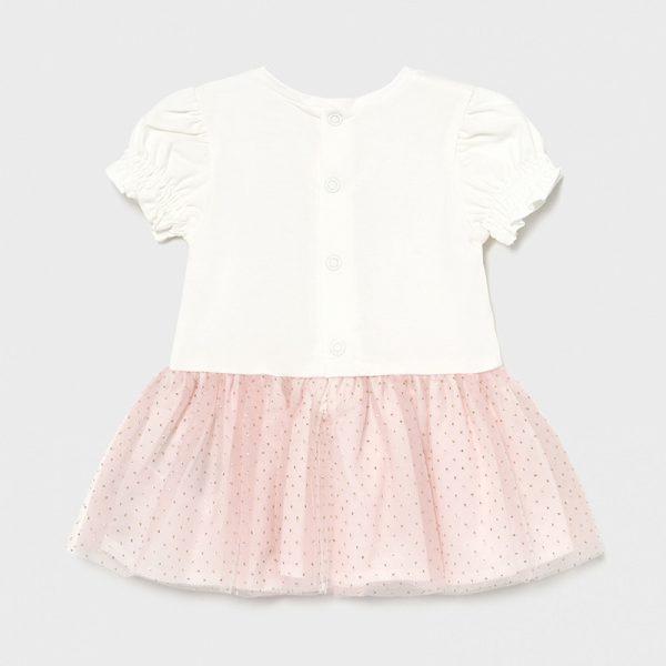 Šaty s 3D kvetom a tylovou sukňou Mayoral newborn ružové | Welcomebaby.sk