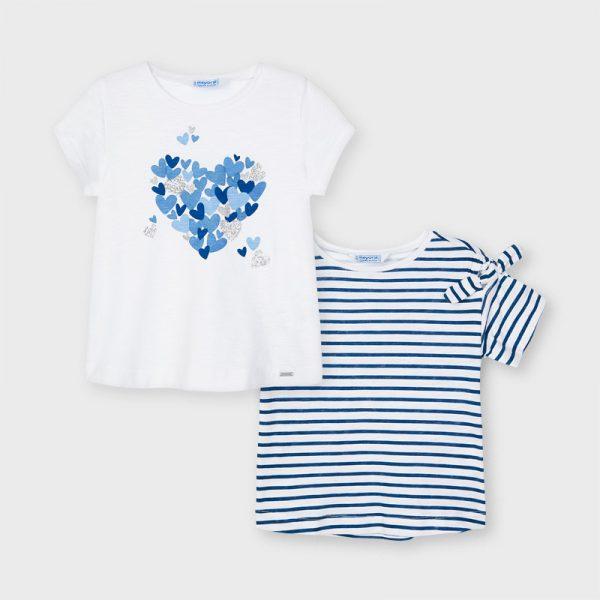 Dievčenské tričko 2pack pruhované a so srdiečkami Mayoral modré   Welcomebaby.sk