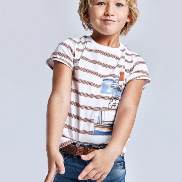 Chlapčenské pruhované tričko s motívom loď Mayoral biele | Welcomebaby.sk