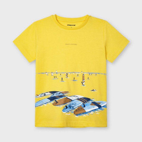 Chlapčenské tričko s krátkym rukávom s motívom surf Mayoral žlté | Welcomebaby.sk
