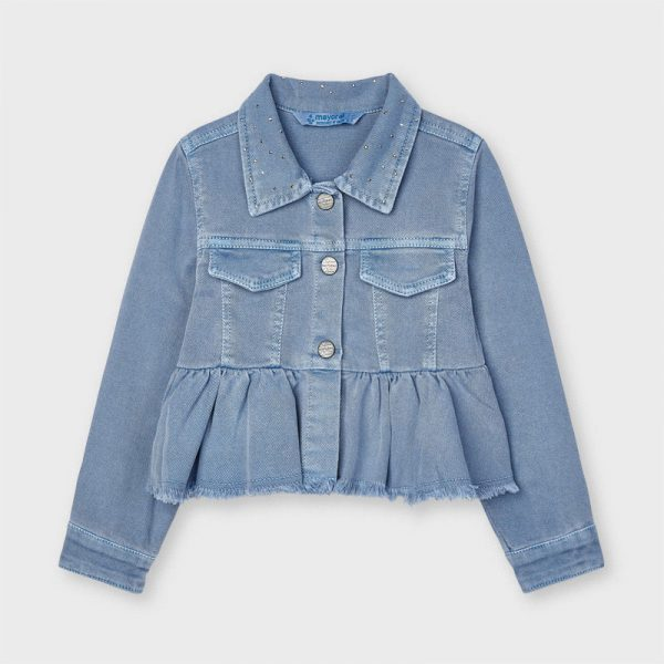 Dievčenská rifľová bunda s volánom Mayoral modrá | Welcomebaby.sk