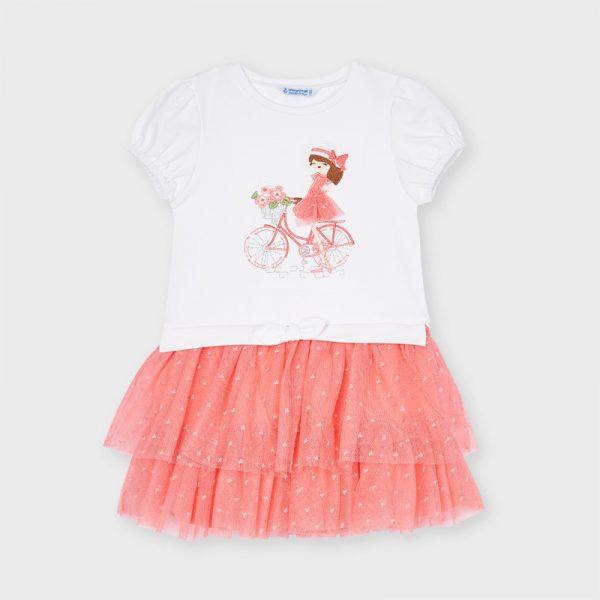 Šaty s dámou na bicykli a tylovou sukňou s mini srdiečkami Mayoral flamingo   Welcomebaby.sk