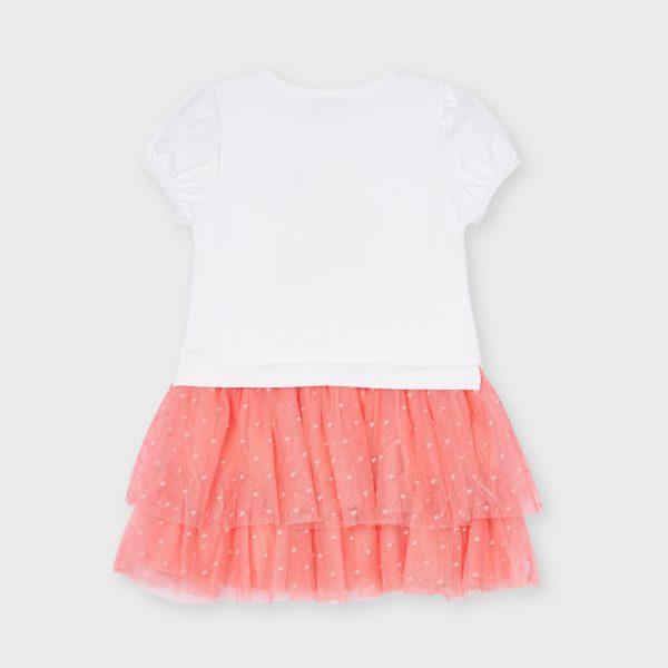 Šaty s dámou na bicykli a tylovou sukňou s mini srdiečkami Mayoral flamingo | Welcomebaby.sk