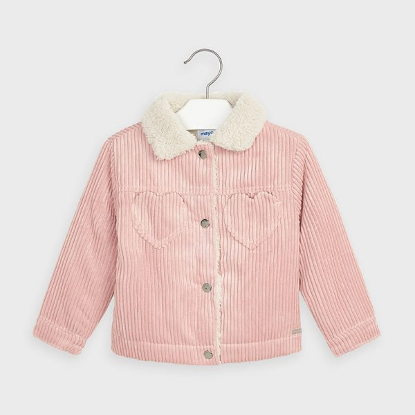 Dievčenská menčestrová bunda s jemnou kožušinkou Mayoral ružová | Welcomebaby.sk
