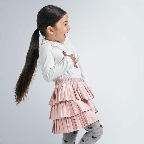 Skladaná semišová sukňa jemne lesklá Mayoral ružová | Welcomebaby.sk
