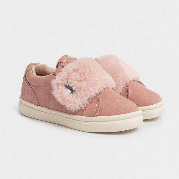 Dievčenské topánky s kožušinou Mayoral ružové | Welcomebaby.sk