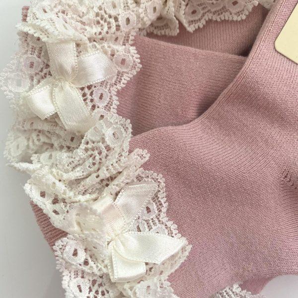 Ponožky s čipkou a mašľou Cóndor staroružové | Welcomebaby.sk