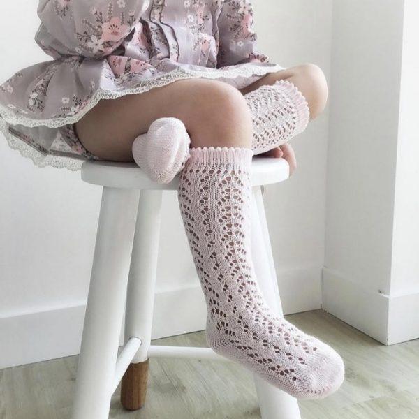 Háčkované podkolienky bez mašle Cóndor baby ružová | Welcomebaby.sk