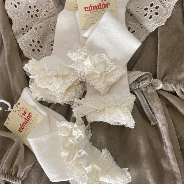 Bavlnené podkolienky s čipkou a mašľou Cóndor maslové | Welcomebaby.sk