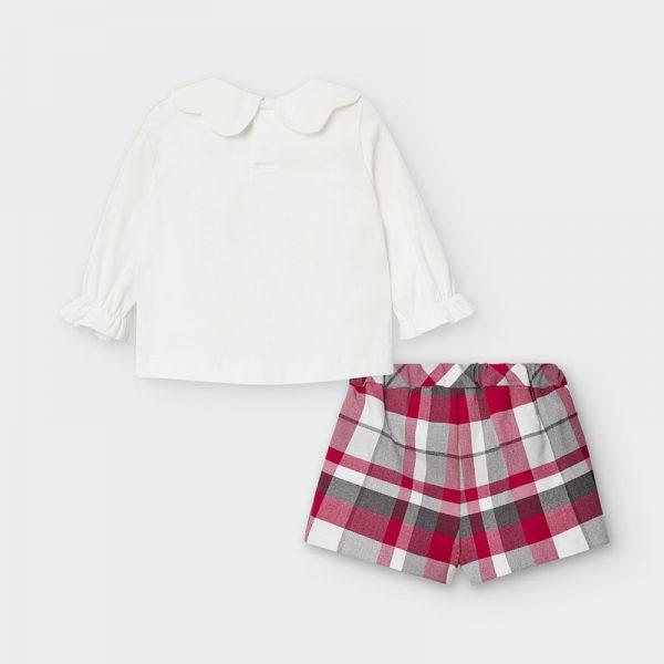 Kockované šortky s tričkom s mackom Mayoral newborn červené | Welcomebaby.sk