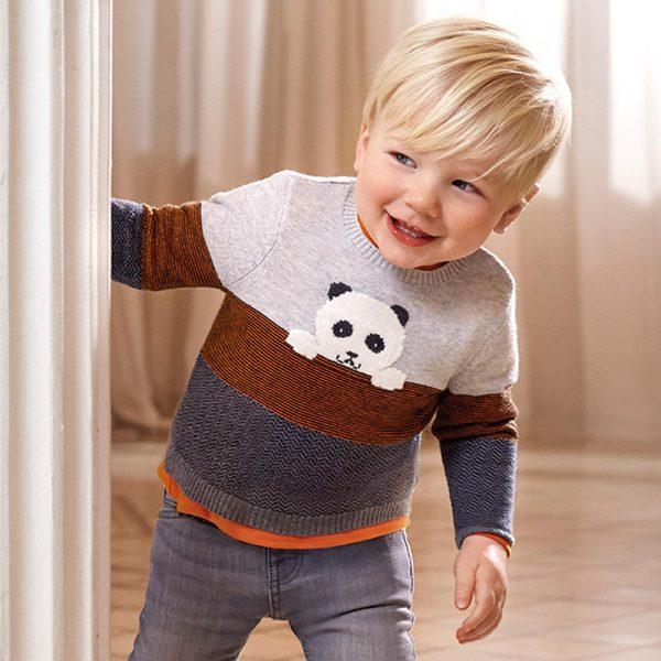 Chlapčenský trojfarebný sveter s macom Mayoral newborn sivý | Welcomebaby.sk