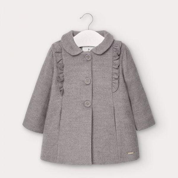 Dievčenský kabát s volánom Mayoral newborn sivý | Welcomebaby.sk
