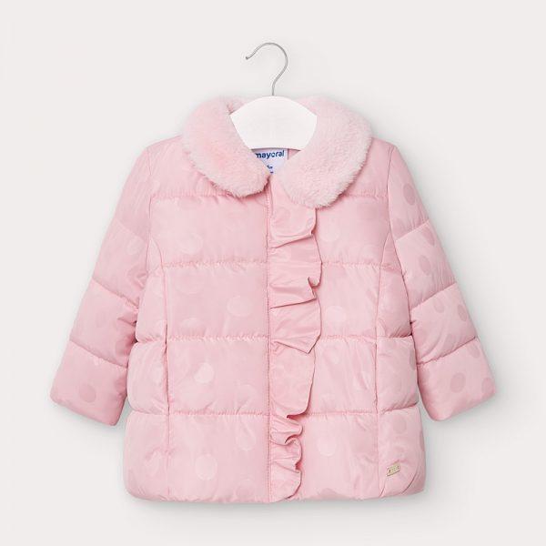 Dievčenská bodkovaná bunda s volánom Mayoral newborn baby ružová | Welcomebaby.sk