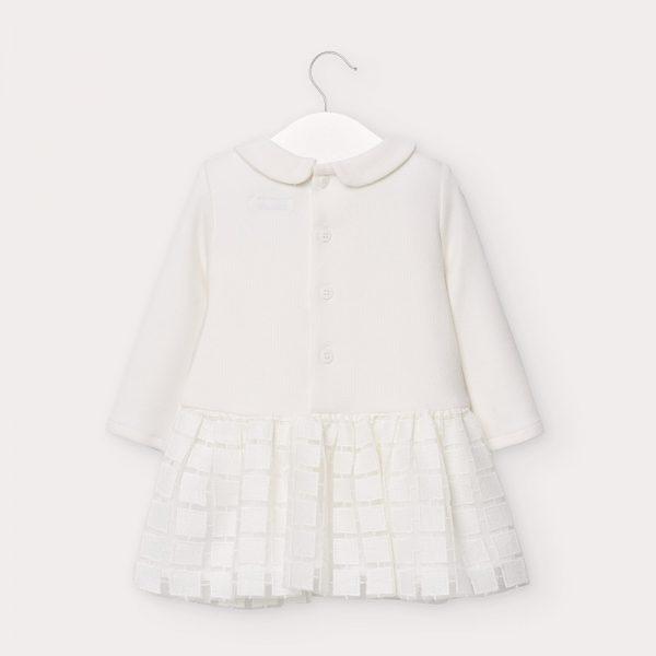 Kombinované vrúbkované šaty s golierom a dlhým rukávom Mayoral biele | Welcomebaby.sk