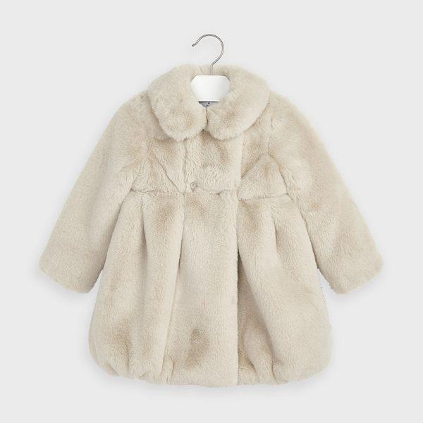 Dievčenský predĺžený kožušinový kabát Mayoral krémový | Welcomebaby.sk