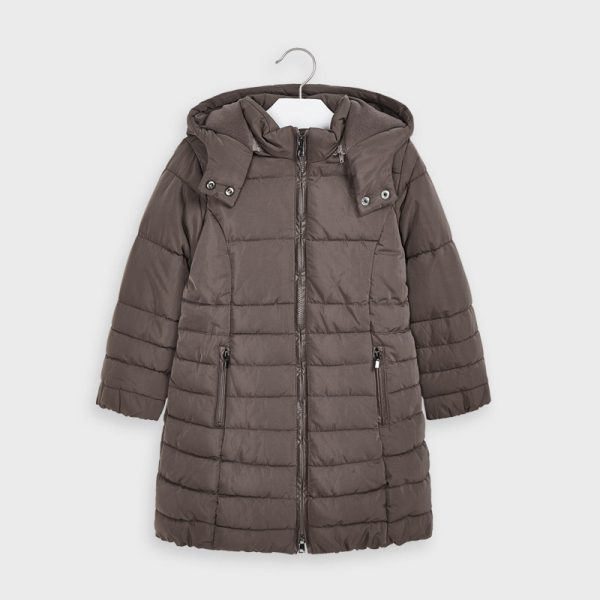 Dievčenská predĺžená bunda s kapucňou Mayoral hnedá | Welcomebaby.sk