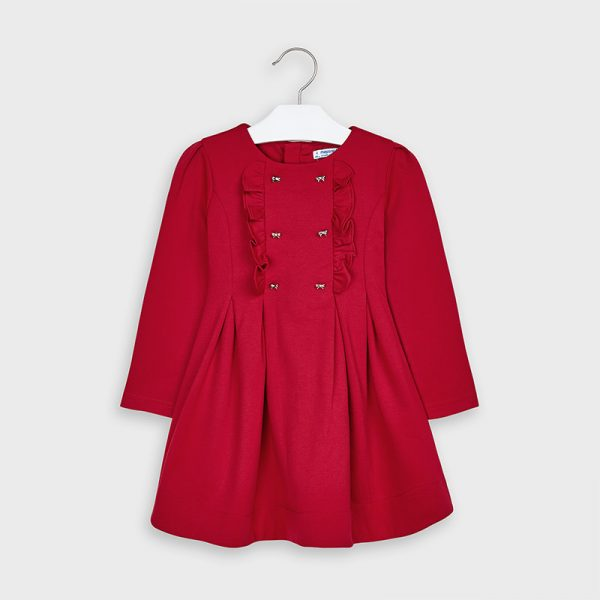 Šaty na hrudi s volánom a kovovými mašličkami Mayoral červené | Welcomeababy.sk