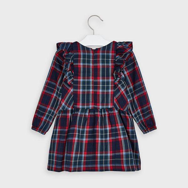 Kárované šaty s volánmi Mayoral tmavomodré | Welcomebaby.sk