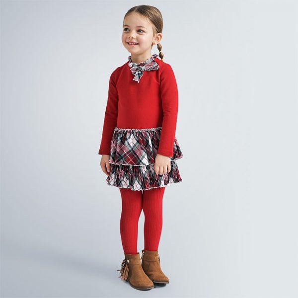Kombinované šaty s károvanou sukňou Mayoral červené | Welcomebaby.sk