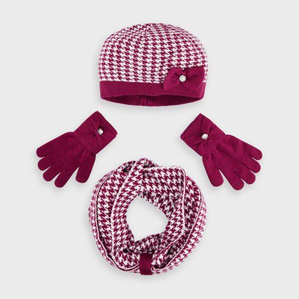 Dievčenská vzorovaná čiapka, šál a rukavice Mayoral cherry | Welcomebaby.sk