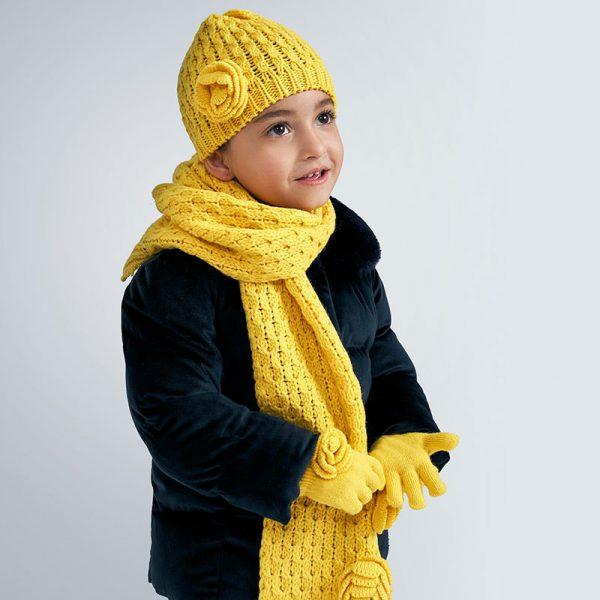 Dievčenská čiapka, šál a rukavice s kvetom Mayoral žltý | Welcomebaby.sk