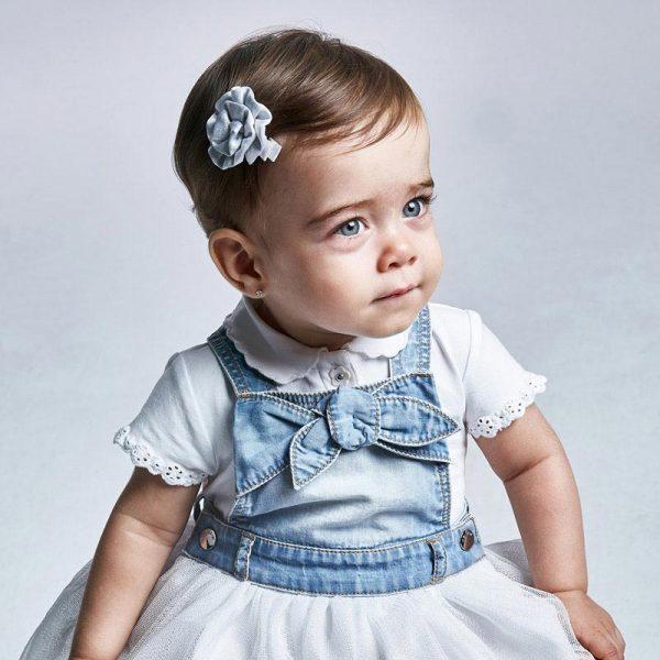 Dievčenské tričko s krátkym rukávom, golierom a výšivkou Mayoral newborn biele   Welcomebaby.sk