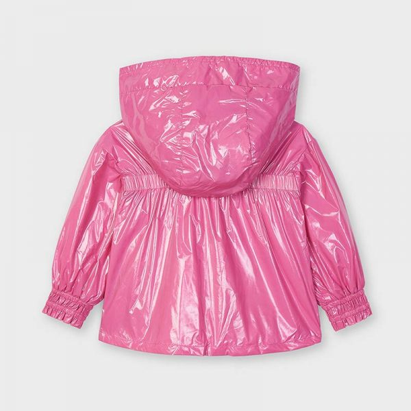 Dievčenská lesklá prechodná bunda s kapucňou Mayoral ružová | Welcomebaby.sk