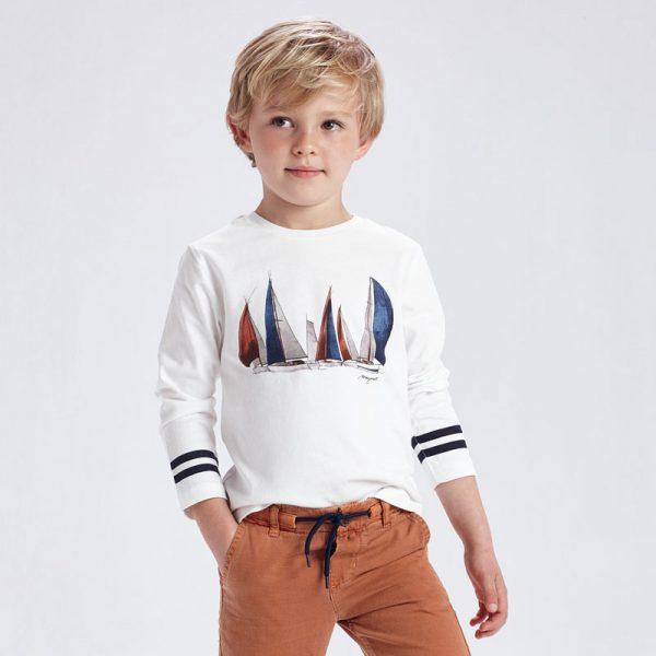 Chlapčenské tričko s dlhým rukávom loďky Mayoral biele | Welcomebaby.sk