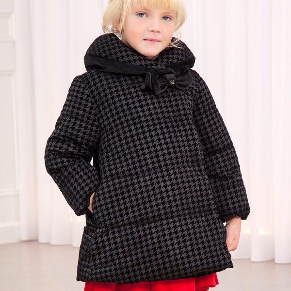 Dievčenská obojstranná vzorovaná bunda s mašľou Abel & Lula čierna | Welcomebaby.sk