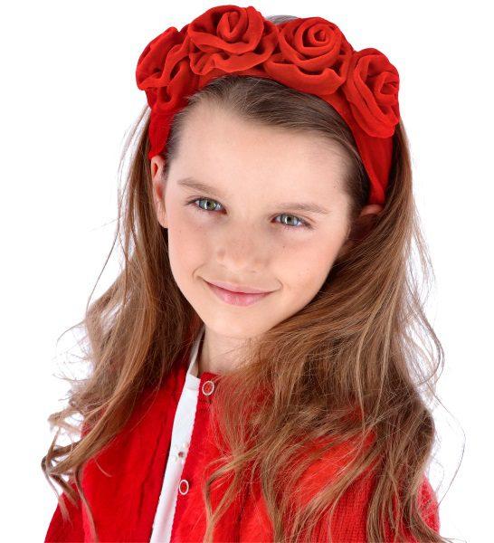 Zamatová čelenka s kvetmi Abel & Lula červená | Welcomebaby.sk