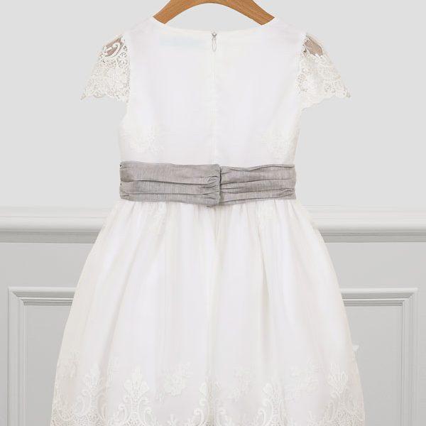 Luxusné tylové šaty s výšivkou na sukni a vyšívanými rukávmi Abel & Lula biele | Welcomebaby.sk