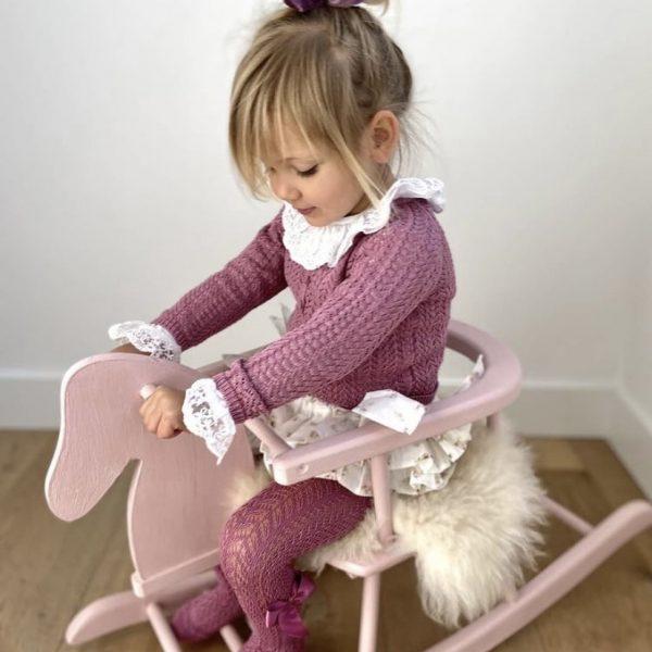 Bavlnený dierkovaný sveter na gombíky Cóndor cassis | Welcomebaby.sk