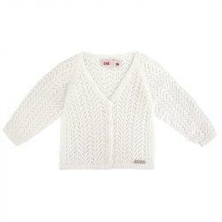 Bavlnený dierkovaný sveter na gombíky Cóndor maslový | Welcomebaby.sk