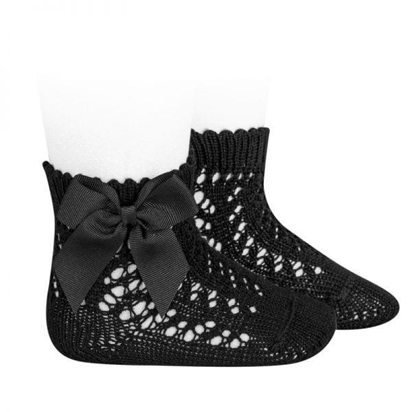 Háčkované ponožky na boku so saténovou mašľou Cóndor cierne | Welcomebaby.sk