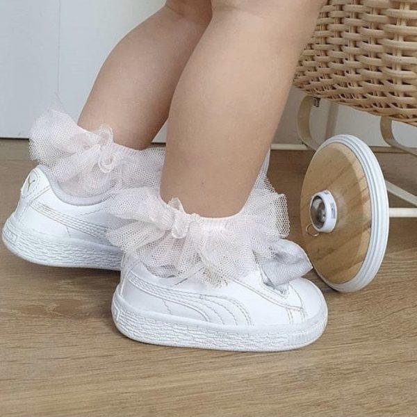 Hladké ponožky s tylovým volánikom Cóndor biele | Welcomebaby.sk