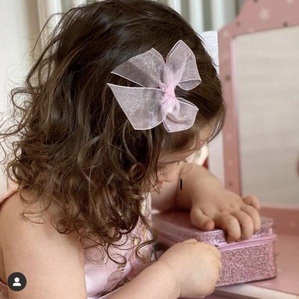 Tylová mašľa do vlasov s klipom Cóndor baby ružová   Welcomebaby.sk