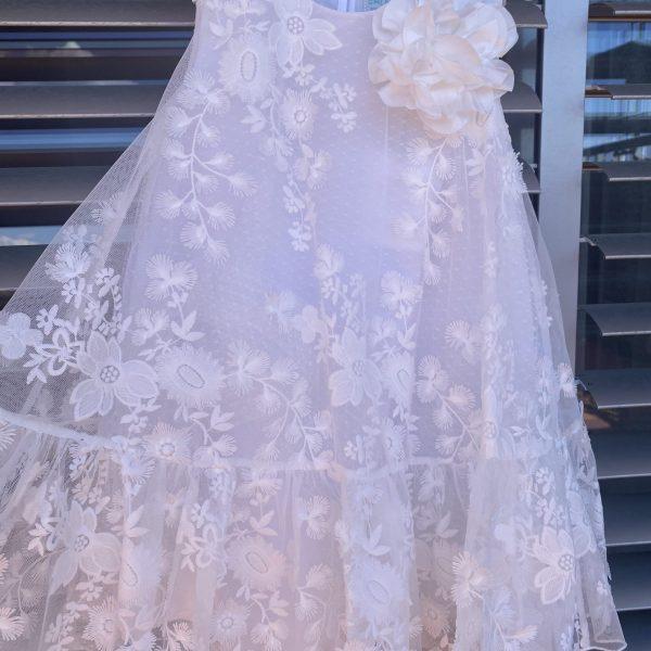 Exkluzívne kvetované šaty s 3D kvetom Abel & Lula biele | Welcomebaby.sk