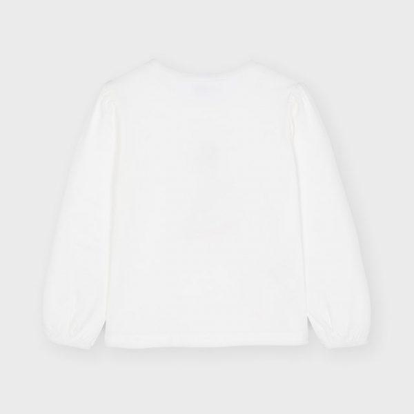Dievčenské tričko s dlhým rukávom a postavičkou v 3D sukni Mayoral biele | Welcomebaby.sk