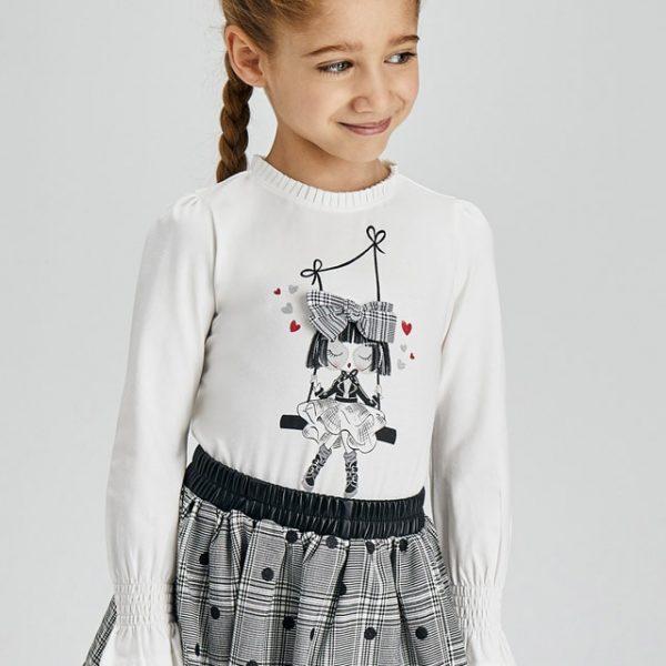 Dievčenské tričko s dlhým rukávom a s postavičkou na hojdačke Mayoral bieločierne | Welcomebaby.sk
