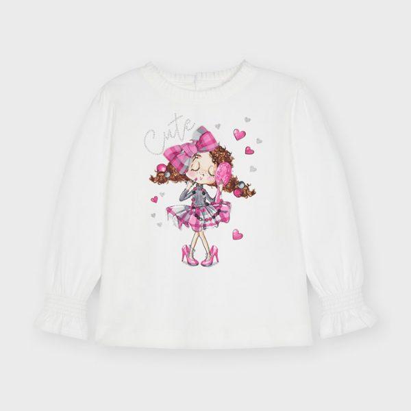 Dievčenské tričko s dlhým rukávom a postavičkou so šminkami Mayoral biele | Welcomebaby.sk